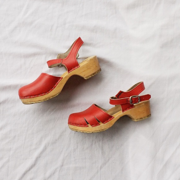 Vollsjö Genuine Leather Swedish Wooden Clogs